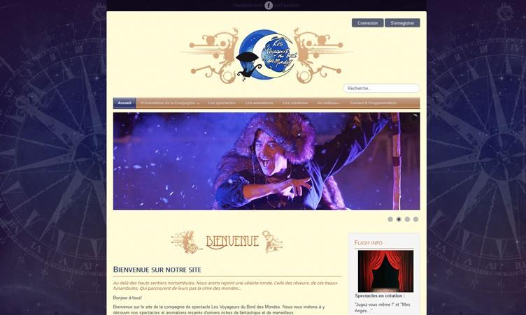 Site internet de la compagnie de spectacle Voyageurs du Bord des Mondes
